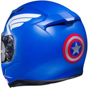 Un casque à l'effigie de Captain America.