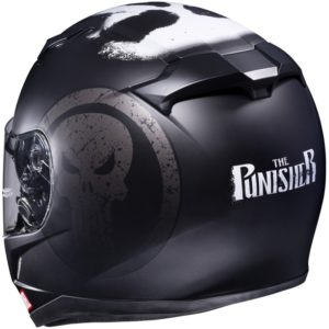 Un casque à l'effigie du Punisher.